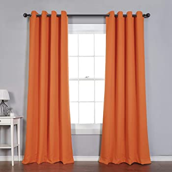 MYSKY HOME Blackout Curtain for Bedroom, Grommet Room Darkening Curtain, Amazing Triple Weave Thermal Insulated Curtain, 1 Curtain Panel ( 52 x 84 Inch, Orange )