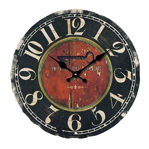 Orologio da parete, iTECHOR 12 pollici 30 cm in legno orologio da parete silenzioso senza rumore Tick Tack, Legno, tipo 7