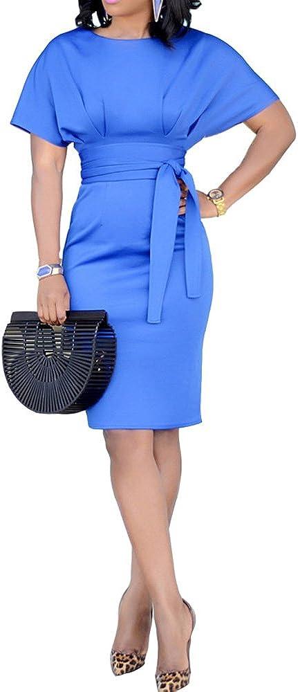Adogirl Womens Sexy Short Sleeve High Waist Self Belt Solid Bodycon Short Midi Pencil Dress Clubwear