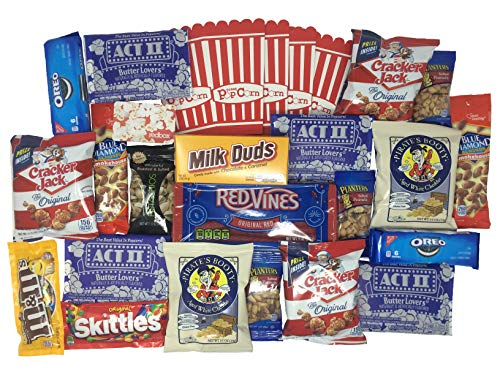 Deluxe Movie Night Gift Box with Snacks and Redbox Movie Rental Codes