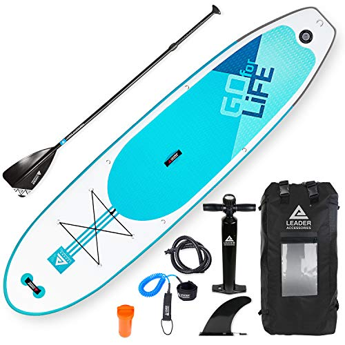 "Leader Accessories 10'6"" and 11'2"" Inflatable Stand Up Board with Fins (6"" Thick) Includes Adjustable Paddle,Kayak Leash,ISUP Backpack,Pump with Gauge (C-Aqua, 10'6'')"