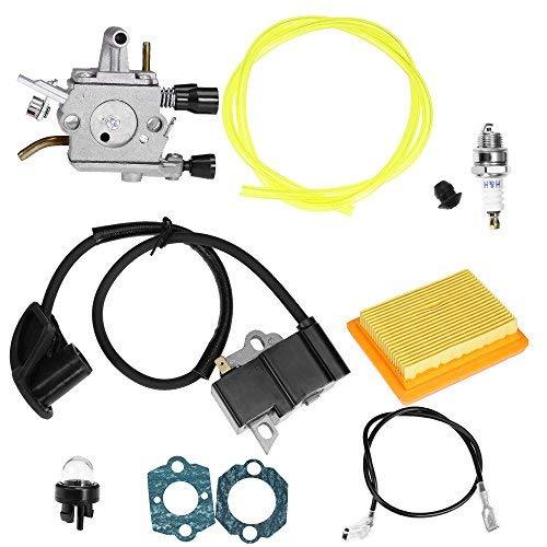 Aynaxcol Vergaser-Kit mit Zündspulendichtungen Zündkerze Ersatz für Stihl FS120 FS200 FS202 FS250 FS300 FS350 Trimmer Weedeater Freischneider 41341410300