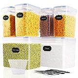 SOLEDI Boite de Conservation Alimentaire 6 pièces, récipient de Stockage scellé sans BPA, adapté aux céréales, à la Farine, au Sucre, étiquette réutilisable 16 pièces, Tasse à mesurer de 250 ML