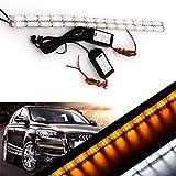 Grandview ledデイライト 流れる デイライト 12V 車用ライト LEDテープ ウインカーランプ 防水可能 ホワイト・アンバー 2本セット 取り付けやすい 一年保証品質