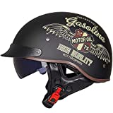 Vintage Casco De Motocicleta Con Visera Casco De Moto Medio Abierto ECE Homologado Casco Moto Jet Casco Ligero Y Cómodo Para Hombres/Mujeres Adultos Casco Jet Para Moto C,XL