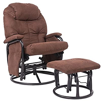 Merax? Brown Luxury Suede Fabric Nursery Glider Rocking Chair 360? Swivel Glider Recliner Chair with Ottoman Living Room Bedroom Furniture
