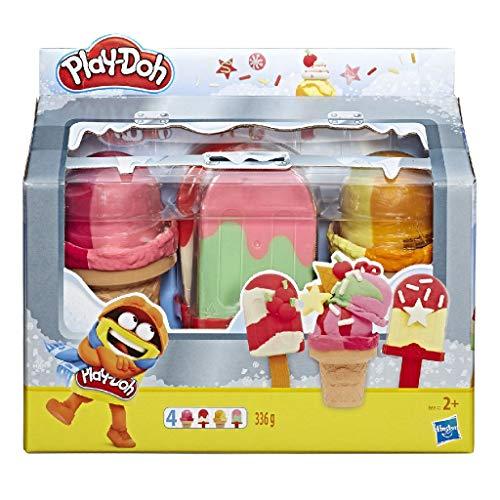 Play-Doh Coole Eisbox 4er-Pack – EIS am Stiel und Eiswaffeln mit jeweils 84 g Spielknete