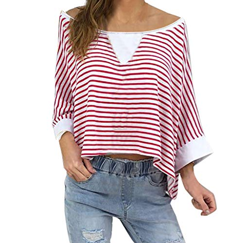 Deep lovly Frauen Damen Cute Plus Size Striped Dreiviertel-Ärmel Schulterfrei Pullover Hemd Elastic...