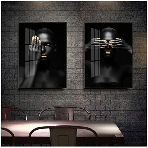 YCCYI Modello di Trucco Moderno Oro e Nero Donna Africana Tela Dipinti su Tela Arte Ragazza Moda Stampe Poster per Soggiorno Decorazioni per la casa 20x30 cm (8x12 Pollici) x2 Senza Cornice