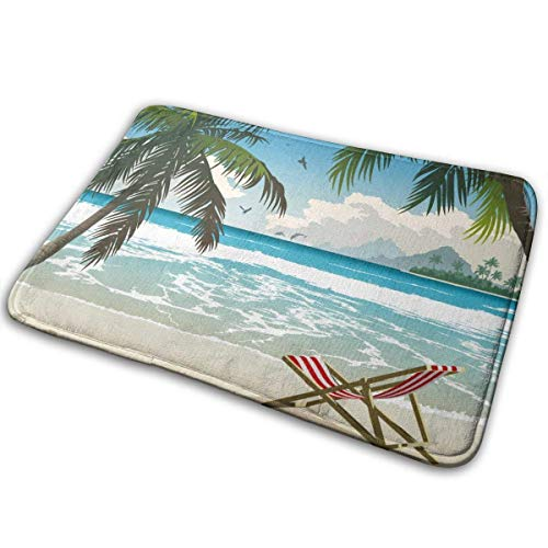 LnimioAOX Palm Trees Summer Beach Chair Polyester Flannel Bath Mat Non Slip Extra Soft and Absorbent Shaggy Rug Dry Fast Perfect for Bathroom Indoor Tub Shower Bedroom Living Room Carpet