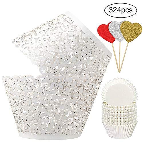 BAKHUK 100Pcs White Vine Lace Hollow Cupcake Wrappers Cupcake Liners and 200Pcs White Baking Cups for Wedding, Birthday, Party etc. …
