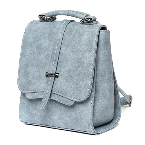 Blue Light City Style Vegan Suede Leather Backpack for Woman. Eco Casual Fashion Rucksack - KEDDO