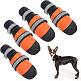 Dog Shoes Anti-Slip Dog Boots, Waterproof Paw Protector for Snow/Rain/Summer Hot Pavement, Soft Adjustable with Reflective Tape for Small Medium Large Dogs Outdoor Walking Hiking Training