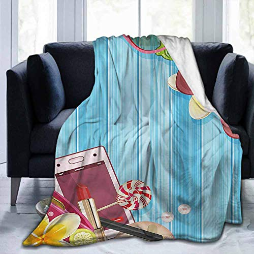 dsdsgog Throw Blanket Modern,Woman Accessories Lipstick,60'x62' Throw Blanket for Ultimate Comfort