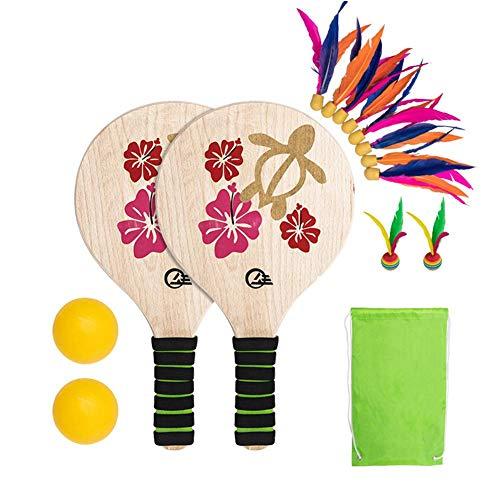 xiangpian183 Juego De Pelota De Paddle De Playa,Sets De Paddle De Playa con Raqueta De Madera Raqueta De Badminton De Pelota De Playa para Niños Adolescentes Adulto Juegos De Interior Y Al Aire Libre