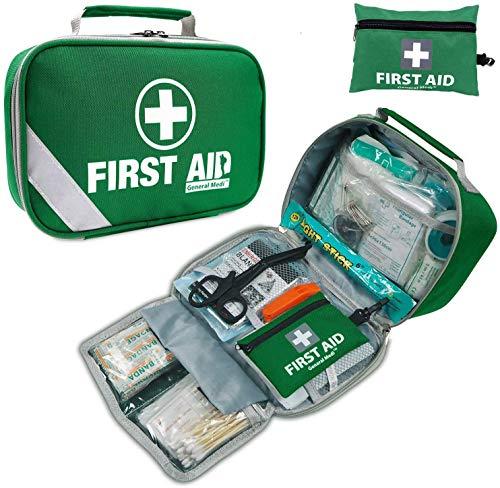 General Medi 2-in-1 Erste Hilfe Set, 215-teiliges Premium-Erste-Hilfe-Set mit einem 43-teiligen Mini-Erste-Hilfe-Set für Haus, Auto, Reise, Büro, Sport, Wandern, Camping, Rettung (Grün)