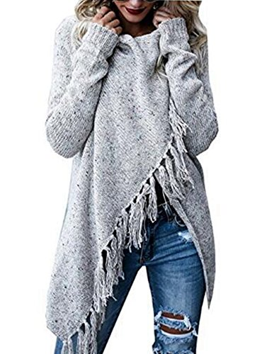Asskdan Damen Winter Böhmen Quaste Capes Strickjacke Poncho Pullover Sweater (M, Grau)