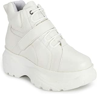 TRUFFLE COLLECTION Women's BLOWN3 White PU Sneakers