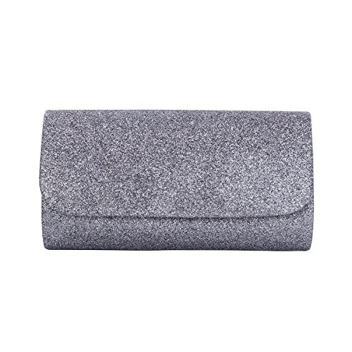 "Elegant small metallic glitter clutch evening bag Fabric lining. Magnetic-flap closure. Interior wall pocket. Removable hideaway shoulder chain strap with 22"" drop 8"" (L) x 4.25"" (H) x 2"" (W) High quality with different sparkling colors available"