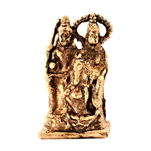 Purpledip Rare Miniature Statue Lord Shiva Family (Mahadev, Parvati & Ganesha): Unique Collectible Gift (11166)