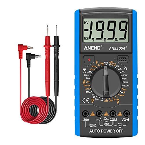 /G DT9205A + Digitalmultimeter 3 1/2 LCD-Anzeige 1999 Zählung Manueller Bereich Universalmesser AC DC-Widerstand Kapazität Transistor-Tester Multifunktionales Amperemeter - Blau