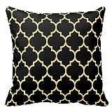 Funda de cojín cuadrada de algodón para cojín, reversible, color negro y dorado, patrón de cuadrifolio de 40,6 x 40,6 cm