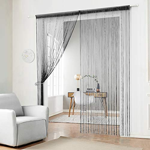 HSYLYM Fadenvorhang mit Kunststoffperlenkette, mit Fransen und Quasten, Polyester, schwarz, 90x200cm