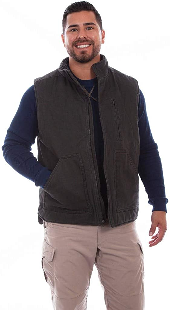 Scully Western Vest Mens Canvas Zip Pockets S Charcoal F0_5272