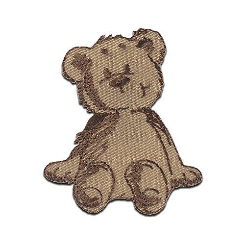 Bär sitzt Tier - Aufnäher, Bügelbild, Aufbügler, Applikationen, Patches, Flicken, zum aufbügeln, Größe: 5,2 x 4,6 cm