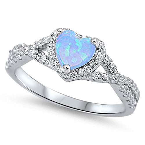 Infinity Heart Light Blue Simulated Opal Promise Ring Sterling Silver Band Size 6