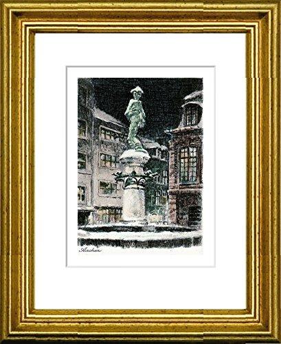 Kunstverlag Christoph Falk Handkolorierte Radierung Aachen, Brunnen im Rahmen Gold hinter Passepartout