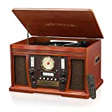 Victrola VTA-750B+-MAH Wood 7-in-1 Nostalgic Bluetooth Record Player with CD Encoding and 3-Speed Turntable, Glossy Dark Brown (Mahogany)