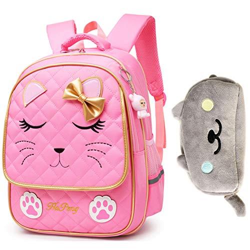 Uniuooi Cute Cat School Book Bag Backpack with Plush Pencil Case for Girls 7-12 Years Old - Nylon Bow Kids Backpack Princess Satchel Waterproof Rucksack (Pink)
