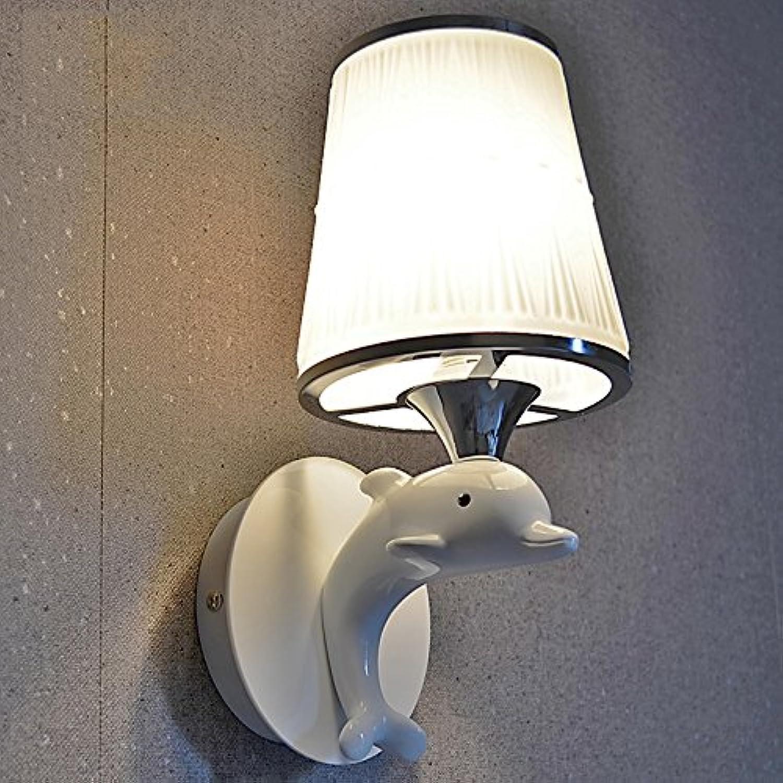 Wandlampe Moderne minimalistische weie Metallic-Lack Delphine einzelne Tier Kopf Wandlampe Schlafzimmer Nachtwandlampe Gang Kinder
