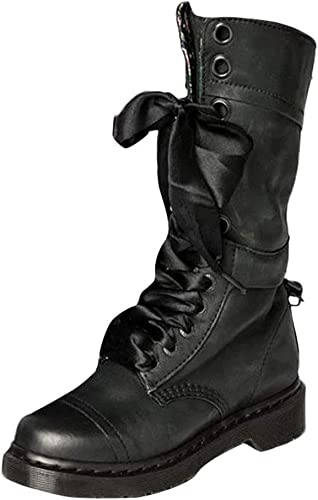 Oudan Bottes pour Femmes Chaussures pour Femmes Bottes pour Femmes Chaussures rétro rétro pour Femmes Bottes mi-Bottes en Cuir Bottes Martin Anti-dérapantes à Lacets Bottes d'hiver Bottes d'hiver