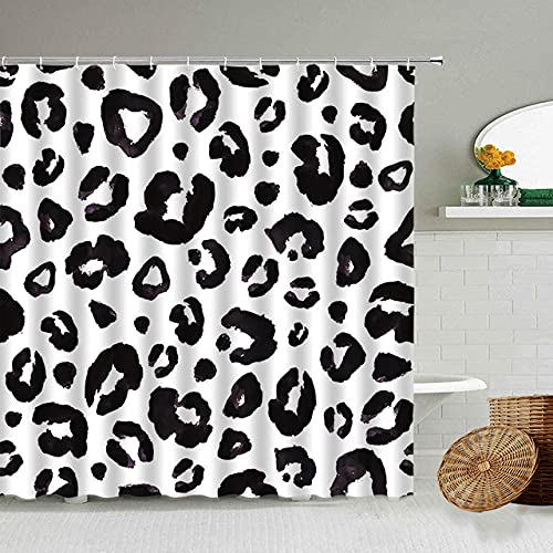 Afrikanischer Stil Leopard Muster Duschvorhang Wild Animal Print Badezimmer Badewanne Dekoration Geschenk wasserdichte Vorhänge Bildschirm-21_90x180cm