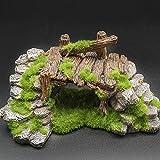 Hermoso y Duradero 1 unids Resina rocoso Puente decoración de los Accesorios del Tanque de Peces Decoración Multiusos (Color : As Shown, Size : L18.8W11.5H9cm)