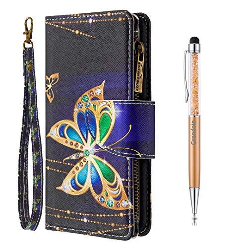 Grandoin für Samsung Galaxy S10 Plus Hülle, Handyhülle im Brieftasche-Stil, Handytasche PU Leder Reißverschluss Klappbarer Flip Cover Bunte Muster Case Schutzhülle (Großer Schmetterling)