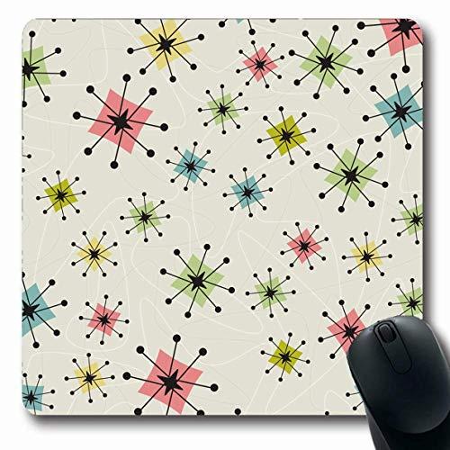 Mousepad Oblong Style Pattern Texturen Vintage Atomic Stars Retrostyliert 1950er Jahre 1960er Jahre Retro Kitsch 1970er Jahre Bumerangs rutschfeste Gummi Mauspad Büro Computer Laptop Spielmatte