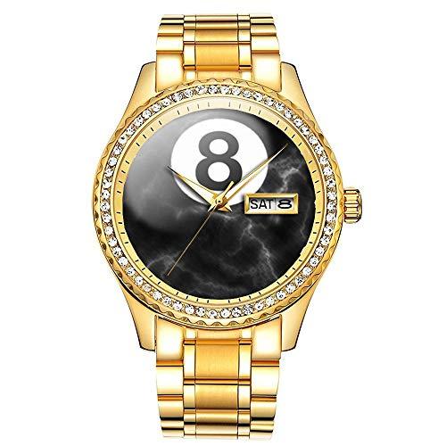 Diamantvergoldete Uhr Luminous Luxury Waterproof Einzigartige Gold-Armbanduhr 045.Billiards Marmor 8 Kugeluhr