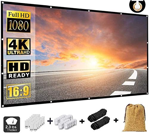 NMEPLAD Projector Screen 150 Inch,Portable Movie Screen for Outdoor Indoor,4K 16:9 HD Foldable Wrinkle-Free Screen(1.1 GAIN,160°Viewing),Support Front Rear Projection,with A Cork Bag(150 inch)