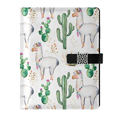 Cuaderno de cuero para diario, cuaderno de viaje, acuarela, cactus, llama, alpaca, rellenable, tamaño A5, encuadernador de anillas – tapa dura, regalo para mujeres y hombres