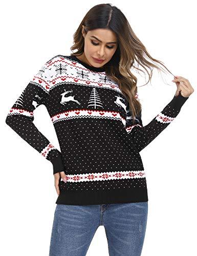 Irevial Jersey Suéter de Navidad para Mujer Jersey navideño Mujer Manga Larga Estampadas Pullover de Punto Cuello Redondo Invierno