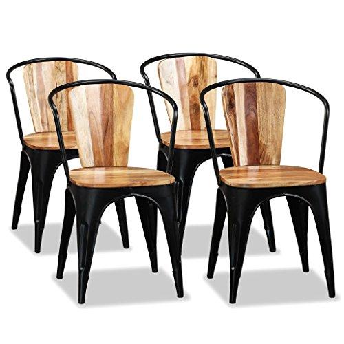 Zora Walter Esszimmerst¨¹hle 4 STK. Massives Akazienholz Tolix Stil Dining Room Chairs Set - Pulverbeschichtetes Eisen for K¨¹Che,B¨¹ro,Lounge,Konferenzzimmer