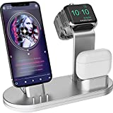 OLEBR 3 in 1 Charging Stand iwatch Stand, Charging Station Compatible with iWatch SE/6/5 /4/3 /2/1, AirPods Pro and iPhone Series 12/11/ X /8/7 /6S /5 Silver