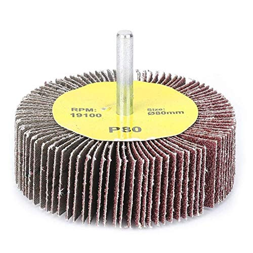 10pcs Abrasivas conjunto de ruedas, 80x25mm papel de lija de la aleta de la rueda Sander, la herramienta rotatoria abrasivas, con 6 mm vástago mandril, for eliminar el óxido de soldadura Burr pulido p