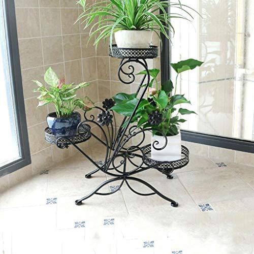 CKH Prune Multi-Couche intérieure Fleur Plateau en Fer Balcon Balcon Suspendu orchidée Vert Loll économie de Plancher Pot Pot Rack Noir