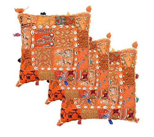 iinfinize – Juego de 3 piezas de fundas de almohada de parches de estilo vintage bordadas con borlas, funda de cojín, funda de almohada hippie decorativa para sofá, silla, almohada de meditación, taburete, puf