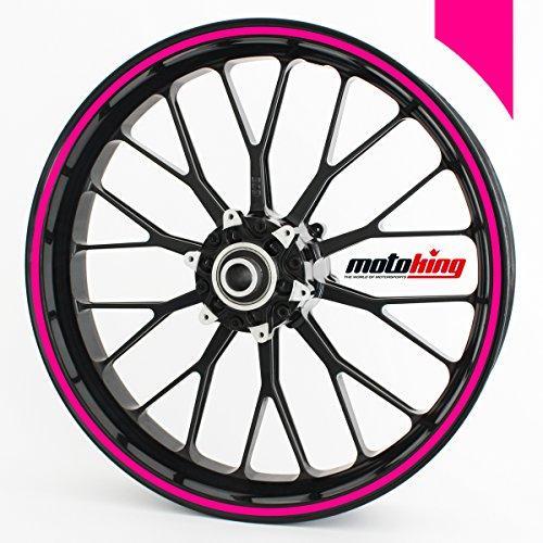 Motoking Adhesivos Llantas 360 °, 6 mm de Ancho, neón de Color Rosa/Rueda Completa/Desde 15' hasta 18'/Color y Ancho Opcionales