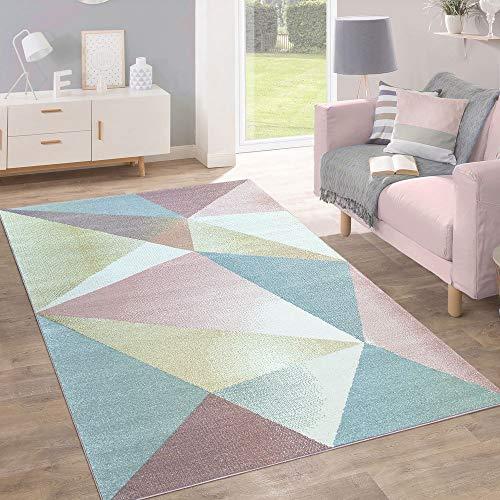 Paco Home Teppich Kurzflor Modern Trendig Pastell Geometrisches Design Inspiration Multi,...
